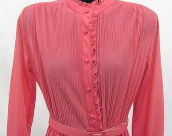 Women' Vintage P.C.F. Petites Hal Ferman Pink Belted Dress Size 14