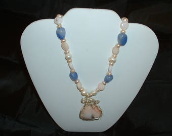 Pink Opal Sterling Wire wrapped necklace, with Blue opal beads and Fresh Water Pearls.