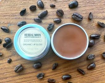 ESPRESSO organic lip gloss • nourishing, conditioning, all-natural • coffee, espresso scented • 1/2oz reusable tin