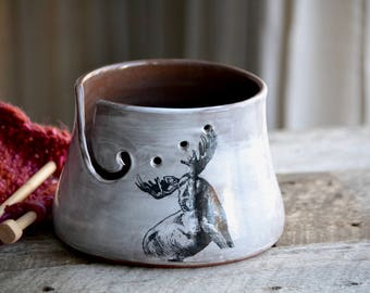 Rustic white yarn bowl with moose handmade pottery