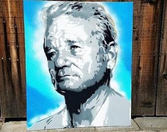 BILL MURRAY spray Paint stencil portrait on CANVAS
