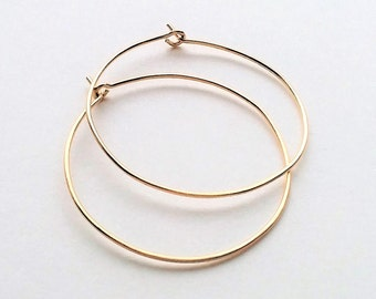 Gold Thin Hoop Earrings, Minimalist Lightweight Hoop Earrings, Gold Hoop Earrings, Large Hoops.