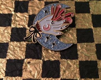Glitter Crescent Moon with Crystals - Enamel Pin - Collab with Suspirialand