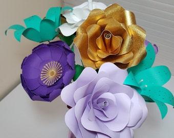 Small Paper Flower Set - 8 Flower - Arrangement - Centerpieces