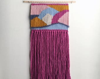 handmade woven wall hanging // abstract shapes