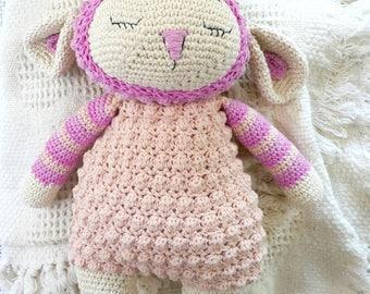 READY TO SHIP, newborn gift, cotton crochet lamb, crochet toy, stuffed animal, baby girl toy, white stork creations