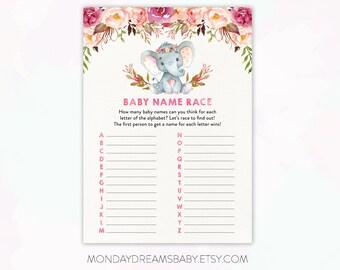 Elephant Baby Shower Games Baby Name Race Printable Baby Shower Game Elephant Floral, Boho Floral, Elephant Boho, Baby Girl Theme BBS001