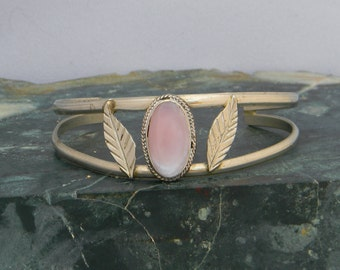 "Mexico Alpaca Silver 6-7/8"" Vintage Cuff Bracelet Pink Mother of Pearl Inlay H45"