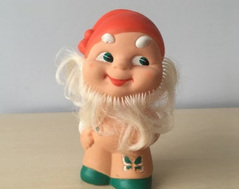 Soviet Vintage Rubber Toy, Rubber Dwarf, Elf, Gnome, Smiling Toy, made in Ussr.