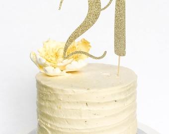 21 Birthday Cake Topper • Twenty One Cake Topper • Gold Glitter Topper • Age Cake Topper • Number Cake Topper