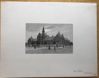 Old Lithograph of State School in Ballarat Victoria, Australia Signed by W C Fitler