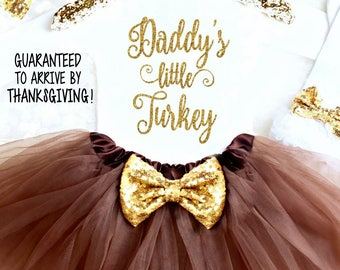 Thanksgiving Outfit Baby Girl 1st Thanksgiving Outfit Girl Thanksgiving Onesie® Daddy's Little Turkey Gobble Wobble Thanksgiving Bow