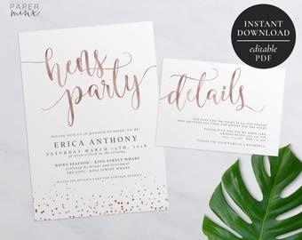 Rose Gold Bachelorette Party Invitation | Printable | Editable PDF | Hens Night Invitation | Hens Party | Rose Gold Foil | Details Card