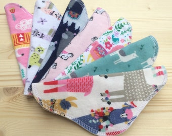 7 pc Set, Llamas, Cloth Panty Liner, Flannel Front and Back, 100% Cotton