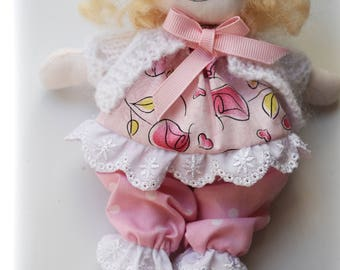 "Valentine Roses Dolly-for-doll (or you!) Handmade 8"" fabric doll."