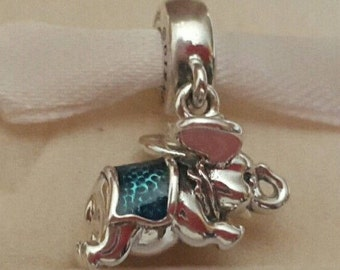 Disney FLYING DUMBO CHARM / New / Threaded / s925 Sterling Silver / Fully Stamped