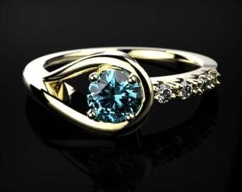 Blue Topaz Engagement Ring Yellow Gold Blue Topaz Ring Blue Gemstone Engagement Ring Gold Blue Topaz Ring December Birthstone