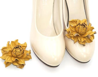 Shoe clips, Genuine leather SHOE CLIPS flowers, gilding yellow rose shoe decoration|Shoe flowers|Shoe jewelry|Shoe decoration, shoe clip ons