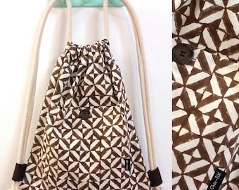 Drawstring bag, Vegan Bag, Shoulder Bag, canvas bag, beach bag, gym bag, brown bag, Drawstring backpack, String bag, Cinch bag, gift for her