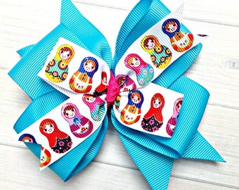 "Nesting Dolls Hair Bow, Nesting Dolls Hair Clip, Matryoshka Hair Bow, Matryoshka Hair Clip, 4"" Bow, Attach to Clip, Barrette or Headband"