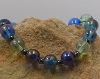 Blue Green Glass Stretch Bracelet