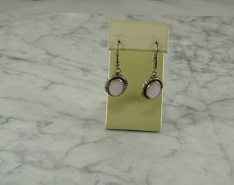 Sterling Silver / Pink Mother of Pearl Earrings (pierced)