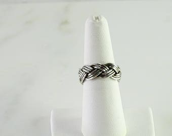 Sterling Woven Braid Ring Size 7