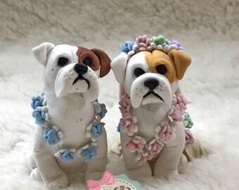 Clay Dog Cake Topper English Bulldog Wedding