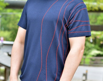 Embroidered handcrafted t-shirt. Original pattern. No collar, Raw hems. Japanese inspired tee. Waves. Blue. Limited edition. Made in Japan
