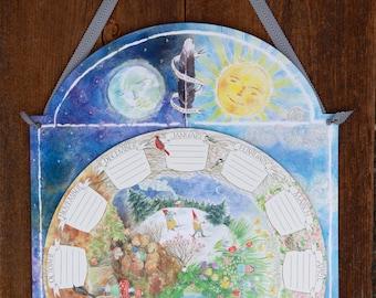 A CHILD'S CALENDAR - Circular, Perpetual Calendar illustrated by Phoebe Wahl- Keepsake - Waldorf - Homeschool