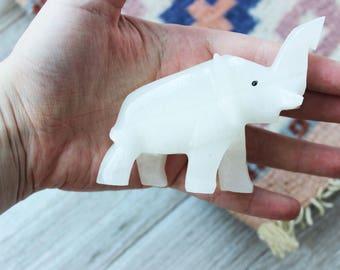 Vintage Onyx Elephant Stone Carving   #3