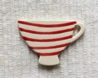 Red Stripe Tea Cup Brooch, Ceramic Brooch, Handmade Brooch, Tea Cup Jewellery, Tea Time Brooch.