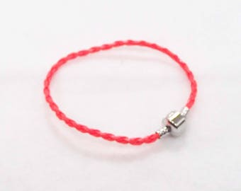 "20.5cm (8"") Braided Leather European Charm Bracelet in Neon Orange"