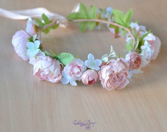 Floral crown boho wedding peach flower crown peonies bridal headband peony halo wedding cream girl hair flower wreath gentle halo flowers
