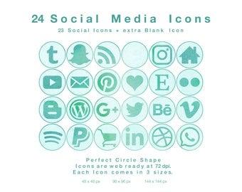 24 Seafoam on Water Watercolour Circles - Web & Blog Social Media Icons - PNG files
