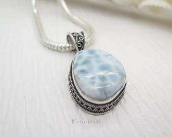 Antique Larimar Sterling Silver Pendant and Chain