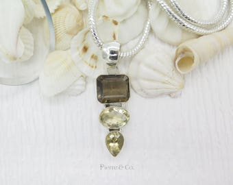 Sparkling Smoky Topaz and Citrine Sterling Silver Pendant and Chain