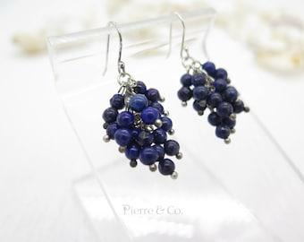 Lapis Lazuli Grapes Drop Sterling Silver Earrings