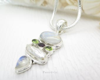 Blue Shine Moonstone Fresh water Pearl Peridot and Garnet Sterling Silver Pendant and Chain