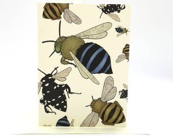 4-pack cartoon bee cards
