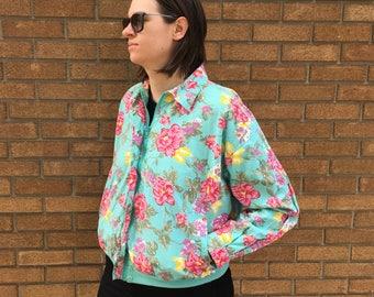 Vintage Floral Pattern Jacket - Vintage Floral Bomber Jacket - Vintage Cotton Jacket - Spring Jacket - Floral Jacket - Floral Print Jacket