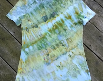 Hand Dyed T-Shirt - Ladies Size Small/ X Small - Green with gold - The Dancing Avocado - Tie Dye