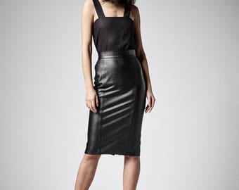 Leather Skirt, BDSM, Faux Leather Skirt, Fetish Clothing, Pencil Skirt, High Waisted Skirt, Midi Skirt, Plus Size Skirt, Leather Clothing