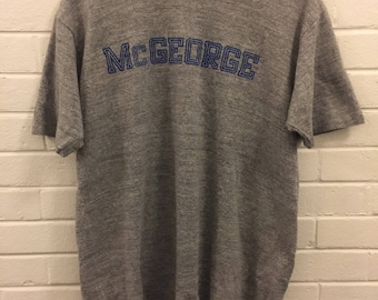 Vintage 80's McGeorge Tri-Blend T-Shirt Men's Size Large 42-44 Heather Grey L
