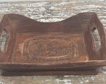 Vintage Carved Wooden Bread Tray Distressed Brown Tray Give us This Day Our Daily Bread
