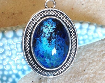 Purple cabochon pendant - metallic blue - turquoise / antique silver / colorful handmade glass cabochon