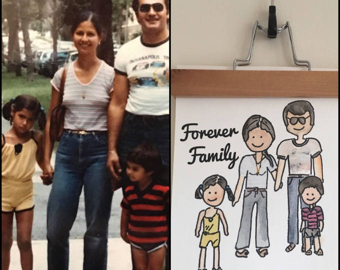 Custom Watercolor Character Portraits- Old Family Photo, Blast from the Past, 1980s, Vintage 8x10''
