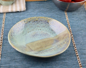 Green and blue swirls and lines serving dish, ceramic tray, serving platter, sushi platter, plate, handmade pottery, stoneware, fruit bowl