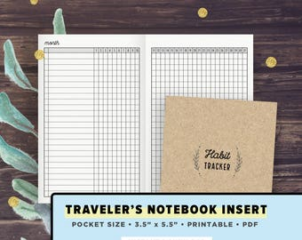 TN Pocket Size | Traveler's Notebook Inserts, Field Notes Size, 3.5 x 5.5 inches, Habit Tracker, Monthly Tracker | INSTANT DOWNLOAD