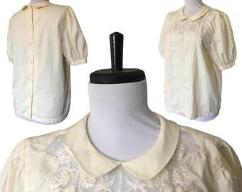 Vintage Cotton Tailored Peter Pan Blouse — S/M